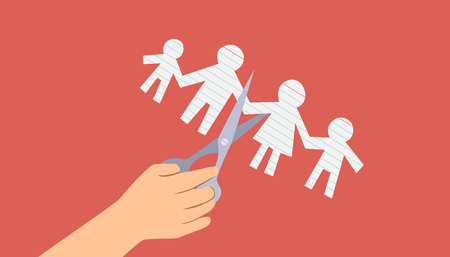 Conceptual Illustration Featuring a Cropped Hand Cutting the Paper Cutout of a Family in Half Stock Photo