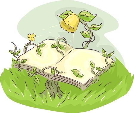 storybook: Whimsical Illustration of a Yellow Flower Supporting an Open Book with its Vines