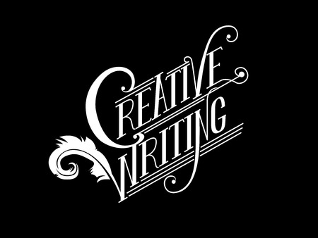 phrase novel: Typography Illustration Featuring the Phrase Creative Writing Written Against a Black Background