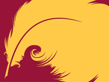 Conceptual Illustration Featuring a Yellow Quill Against a Magenta Background Stock Photo