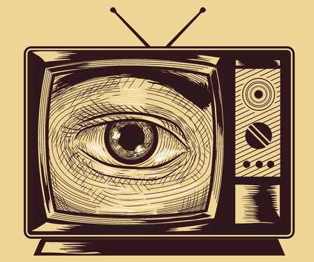 tone shading: Illustration of an Eye Peering from a Vintage Television Set Drawn Using the Cross Hatching Technique Stock Photo