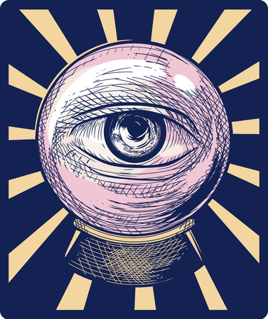 tone shading: Illustration of an Eye Peering from a Crystal Ball Drawn Using the Cross Hatching Technique