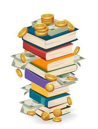 Illustration Featuring a Tall Stack of Books with Golden Coins and Paper Notes Tucked in Between