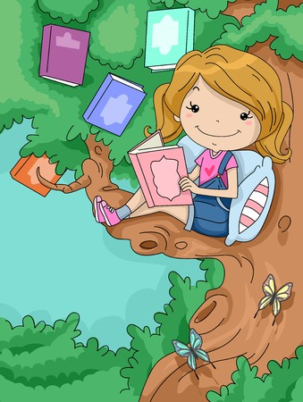 prose: Illustration of a Cute Little Girl Reading a Book While Sitting on the Branch of a Tree