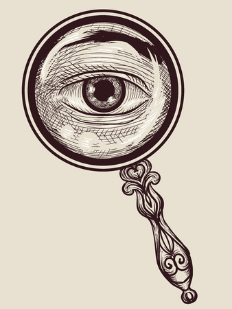 tone shading: Illustration of an Eye Peering Behind a Magnifying Glass Drawn Using the Cross Hatching Technique