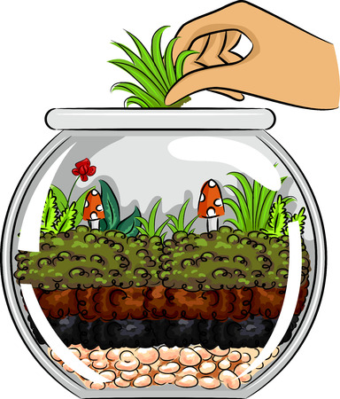 adding: Cropped Illustration of a Hand Adding More Grass to a Terrarium Made from a Glass Bowl