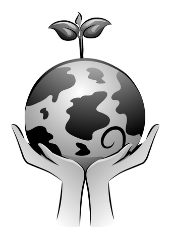 editorial: Black and White Illustration of a Pair of Hands Holding a Globe with a Sapling Growing from It