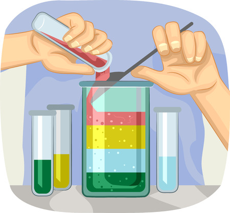 Illustration of a Scientific Experiment Demonstrating the Different Densities of Liquids