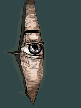 Illustration of an Eye Peering from a Torn Piece of Fabric Drawn Using the Cross Hatching Technique
