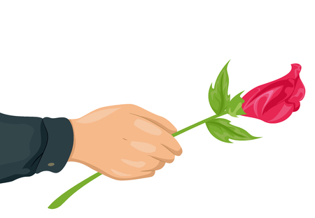 woo: Cropped Illustration of a Man Offering a Long Stemmed Pink Rose to a Loved One Stock Photo