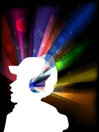 Illustration Featuring the Outline of a Man in Headphones Set Against a Background of Colorful Strobe Lights
