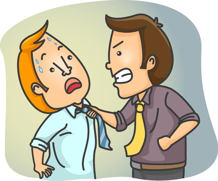 squabble: Illustration Featuring Two Male Employees Having a Physical Fight at the Office