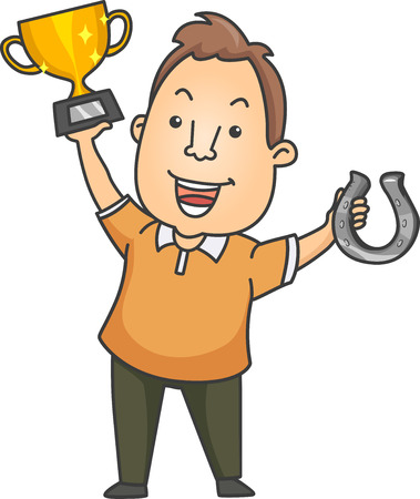 Illustration of a Happy Man Proudly Raising the Golden Trophy He Won From a Horse Shoe Pitching Competition