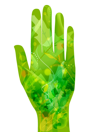Conceptual Illustration Featuring an Open Palm Decorated with Leaves and Vines - eps10 Stock Photo