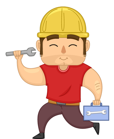 trabajando duro: Illustration of a Muscular Worker in a Yellow Hard Hat Carrying a Wrench and a Box of Tools