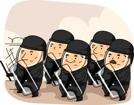 defensive: Illustration Featuring a Group of Riot Police in Full Riot Gear Taking a Defensive Stance Stock Photo