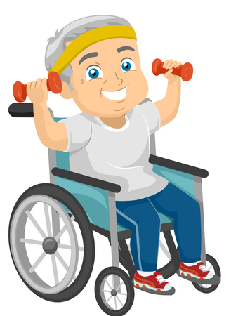 physically: Illustration of a Physically Disabled Elderly Man Working Out from His Wheelchair