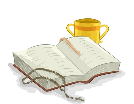 homily: Illustration of an Open Bible with a Rosary Lying on its Left and a Two Handled Chalice On its Right Stock Photo