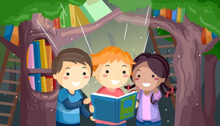 prose: Stickman Illustration of a Group of Kids Reading a Book in a Mystical Forest Stock Photo