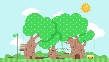 Cutesy Illustration Featuring a Preschool Built Around a Group of Trees Stock Photo