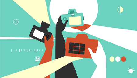 hobbyist: Colorful Illustration Featuring Photographers Taking Pictures with DSLR Cameras