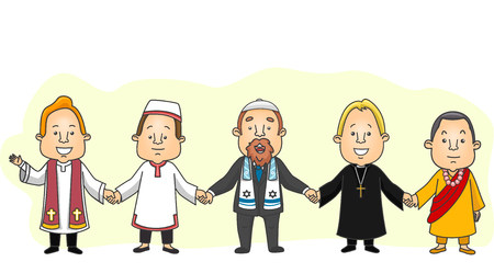 Illustration Featuring a Group of Men from Different Religious Backgrounds Holding Hands in a Show of Unity Stock Photo
