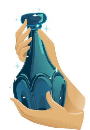 Cropped Illustration Featuring a Hand Holding an Antique Perfume Bottle with an Elaborate Design Stock Photo