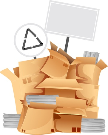 Illustration Featuring a Pile of Boxes Containing Different Recyclable Materials