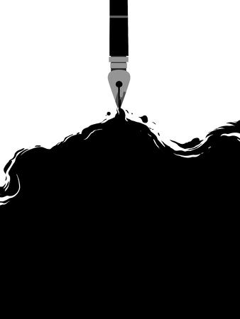 途中で暗いインクをこぼす万年筆で白いキャンバスを備え概念図 写真素材