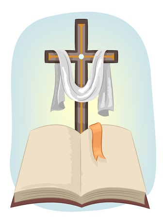 vangelo aperto: Illustrazione con una croce cristiana con un tessuto drappeggiato Su di essa piedi di fronte a una Bibbia aperta