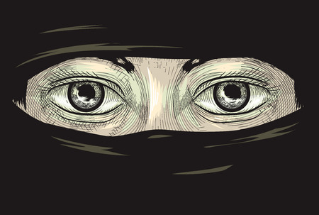 women: Illustration Featuring the Eyes of a Woman in a Niqab Drawn Using the Cross Hatching Technique Stock Photo