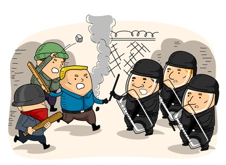Illustration Featuring a Confrontation Between a Group of Rioters and the Riot Police Stock Photo
