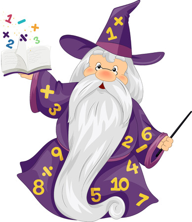 popping out: Illustration of an Elderly Man Dressed as a Wizard Holding a Magical Book with Numbers Popping Out from It