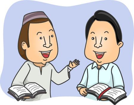Illustration eines Muslims und eines Christen, der eine Diskussion über den Inhalt der Bibel und des Korans hat Standard-Bild - 73586460