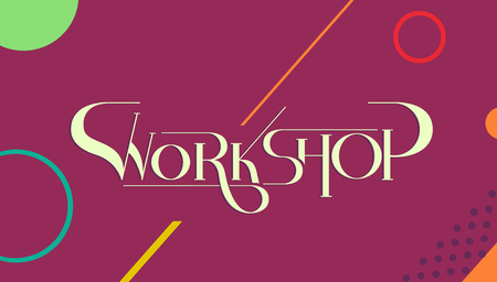 Typography Illustration Featuring the Word Workshop Written Against a Magenta Background Stock Photo