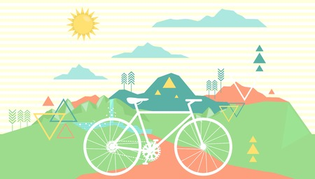 retreat: Geometric Background Illustration Featuring a Bicycle Parked Near a Mountain Retreat Stock Photo