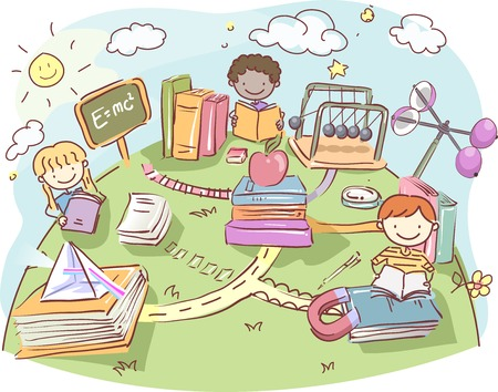 group of kids: Stickman Illustration of a Group of Kids Reading Physics Books Outside