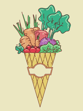 Illustration Featuring a Wrapped Cone Brimming with Freshly Harvested Vegetables Stock Photo