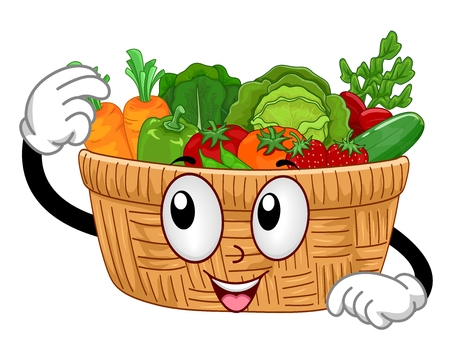 Mascot Illustration Featuring a Wooden Basket Filled with Freshly Harvested Fruits and Vegetables Stock Photo