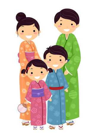 Stickman Illustration Featuring a Japanese Family Wearing Traditional Clothes Stock Photo