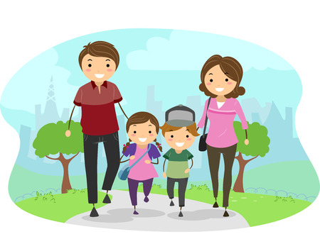 Stickman Illustration Featuring a Family Walking Through a Park Together Stok Fotoğraf - 74344731