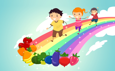 Colorful Illustration Featuring Stickman Kids Racing Towards a  Line Up of Fresh Fruits and Vegetables