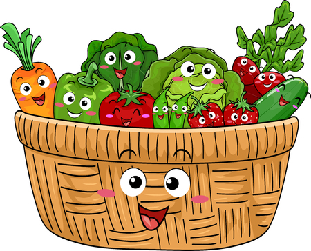 freshly: Mascot Illustration Featuring a Cute Wooden Basket Filled with Freshly Harvested Fruits and Vegetables