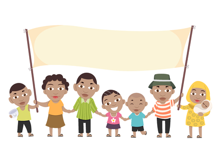 Illustration Featuring a Large Black Family Holding a Large Blank Banner Together