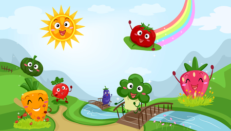 turnip: Colorful Illustration Featuring Fruit and Vegetable Mascots Playing Happily by a Stream