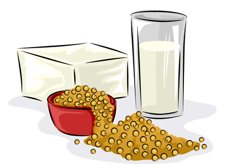 Nutrition Themed Illustration Featuring Readily Available Food That are Rich in Protein