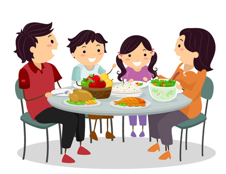 Stickman Illustration einer Familie Glücklich Chatten, während Sie eine Mahlzeit teilen Standard-Bild - 74345609