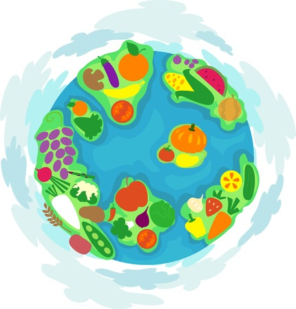 nutritious: Colorful Illustration Featuring a Globe Decorated with Nutritious Food and Vegetables