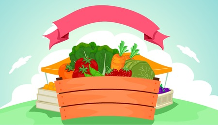 Colorful Illustration Featuring a Pallet of Freshly Harvested Fruits and Vegetables with a Pink Ribbon on Top