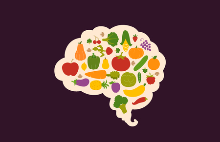 nutritious: Conceptual Illustration Featuring Nutritious Fruits and Vegetables Packed Inside the Outline of a Human Brain